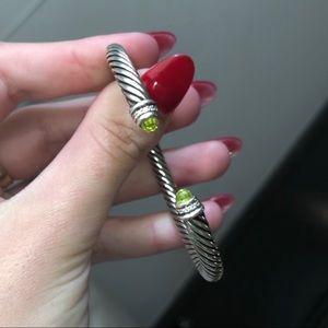 David Yurman 5mm Peridot Diamond Cable Bracelet